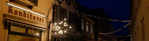 Historische Fassade des Café Held (vormals Hudemann)